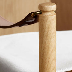 Close-up of Mogens Koch Grandchild Chair Saddle Leather Armrest and Natural Canvas Seat from Carl Hansen & Søn