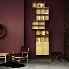 Mogens Koch Bookcase and Shelves in room with Colonial Chair and Propeller Stool Carl Hansen and Son