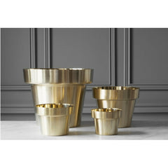 Monica Förster Brushed Brass Flower Pot Collection (Mini, Small, Medium, & Large) from Skultuna