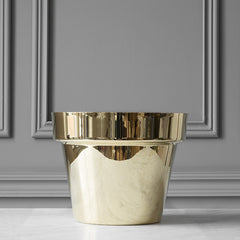Medium Polished Brass Flower Pot by Monica Förster for Skultuna