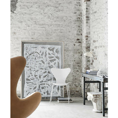 White Monochrome Series 7 Chair in Room with Egg Chair Arne Jacobsen Fritz Hansen