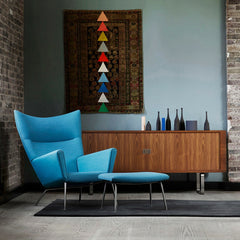 Wegner CH445 in Loft with Naja Utzon Popov Rug and Walnut Credenza Carl Hansen and Son