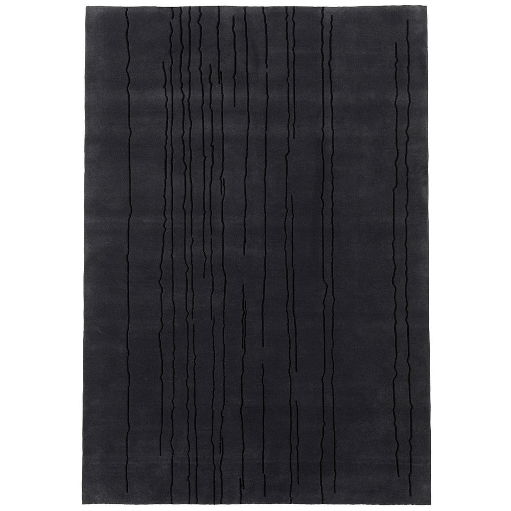 Naja Utzon Popov Woodlines Rug Black with Black Lines Carl Hansen and Son