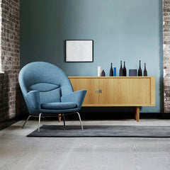 Blue Wegner Oculus Chair in Room with Woodlines Rug and Oak Credenza Carl Hansen and Son