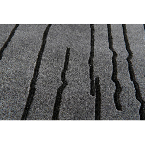 Woodlines Rug Grey Black | Naja Utzon Popov