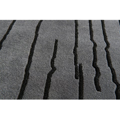 Naja Utzon Popov Grey Woodlines Rug with Black Lines Closeup Detail Carl Hansen and Son
