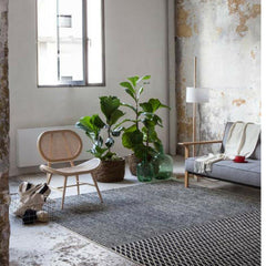 Nanimarquina Bouroullec Blur Rug in Room with Cane Chair and Fiddle Leaf Fig