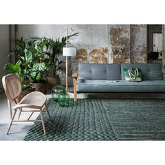 Nanimarquina Bouroullec Blur Rug Green in Room with Cane Chair and Sofa
