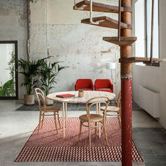 Nanimarquina Bouroullec Blur Rug Red in Room with Thonet Bentwood Chairs