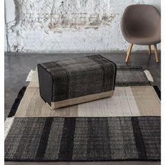 Nani Marquina Tres Rug Black with Pouf