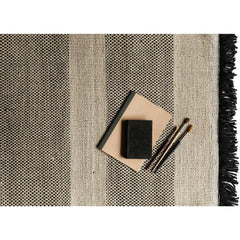 Nani marquina Tres Rug Black Stripes Detail