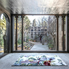 Nanimarquina Flora Backyard Rug by Santi Moix in Room with windows