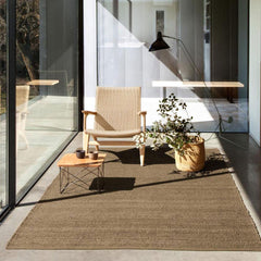 Nanimarquina Herb Rug in room with Hans Wegner CH25 Chair and Mantis Floor Lamp