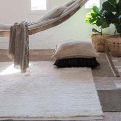 Nanimarquina Ilse Crawford Wellbeing Wool Chobi and Nettle Rug with Throw and Pillows