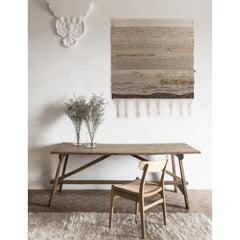 Nanimarquina Ilse Crawford Wellbeing Rug in room with Tapestry and Wegner CH23 Chair