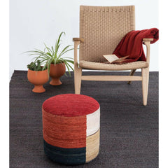 Nanimarquina Kilim Pouf in room with CH25