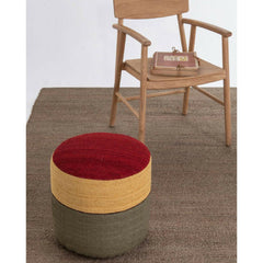 Namarquina Kilim Pouf 4 in room with Wood Chair