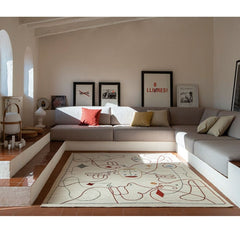 Nanimarquina Silhouette Rug by Jaime Hayon in Living Room with Cesta Lamp by Miguel Mila.