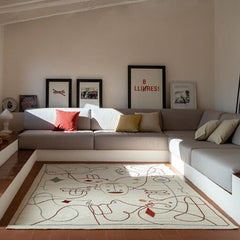 Nanimarquina Silhouette Rug by Jaime Hayon in Living Room with custom sofa.