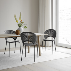 Trinidad Chair by Nanna Ditzel for Fredericia in Grey Oak with Flint Frame shown with Taro Dining Table by Fredericia