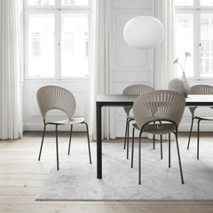 Trinidad Chair by Nanna Ditzel for Fredericia in Light Grey Oak with Flint Frame shown with Mesa Dining Table by Fredericia