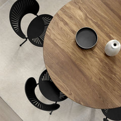 Trinidad Chair by Nanna Ditzel for Fredericia in Black Ash Seat with Black Frame shown with Taro Round Dining Table