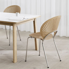 Trinidad Chair by Nanna Ditzel for Fredericia in Oak Lacquer with Chrome Frame shown with Ana Dining Table by Fredericia