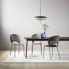 Trinidad Chair by Nanna Ditzel for Fredericia in Smoked Oak with Flint Frame show with the Ana Dining Table by Fredericia