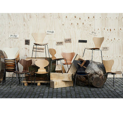 Grand Prix with Arne Jacobsen Stacking Chairs in Different Woods Fritz Hansen