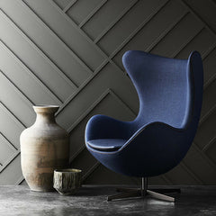 Fritz Hansen's Choice Egg Chair Navy Blue Canvas Fabric with Leather Trim