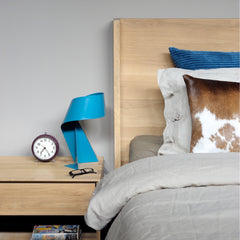 Nordic Oak Night Stand with Nordic II Bed by Ethnicraft and Arne Jacobsen Station Alarm Clock