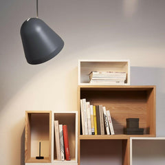Nyta Tilt Pendant Shining on Bookcase
