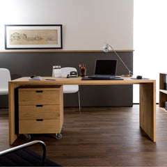 Oak Office Billy Box with Oak Office U Table by Ethnicraft