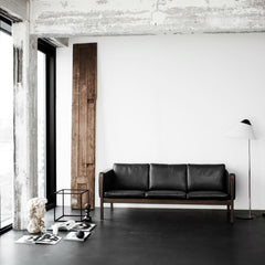 Ole Wanshcer CH163 Sofa Black Leather In Room Carl Hansen & Son