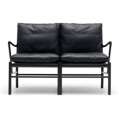 Ole Wanscher Colonial Sofa Black Leather and Black Lacquer Carl Hansen & Son