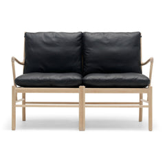 Ole Wanscher Colonial Sofa Black Leather and Oak Carl Hansen & Son