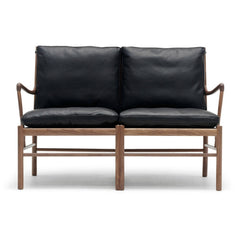 Ole Wanscher Colonial Sofa Black Leather and Walnut Carl Hansen & Son