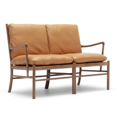 Ole Wanscher Colonial Sofa Brown Leather and Walnut Carl Hansen & Son