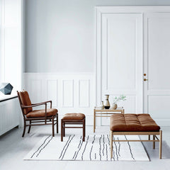 White and Black Woodlines Rug with Ole Wanscher Furniture Collection Carl Hansen & Son
