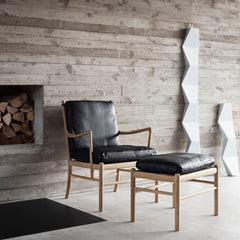 Carl Hansen OW149 Colonial Chair and Footstool Oak with Black Leather in Situ