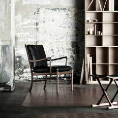 Ole Wanscher Colonia Chair Black Leather with Mahogany Frame in Room