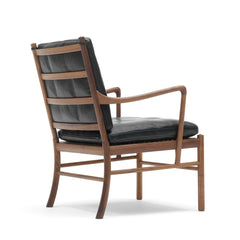 Ole Wanscher Colonial Chair with Mahogany Frame and Black SIF Leather Back Carl Hansen and Son