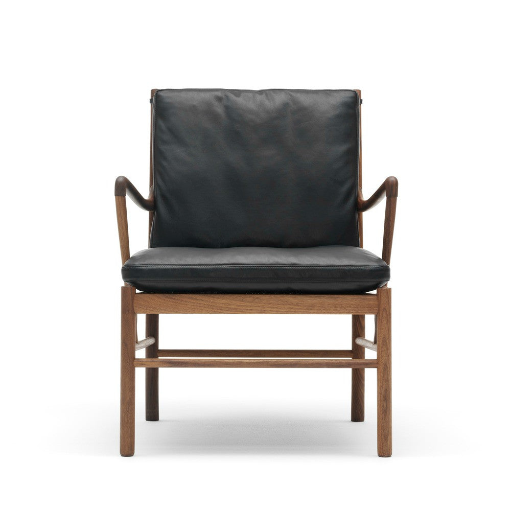 Ole Wanscher Colonial Chair with Walnut Frame and Black SIF Leather Carl Hansen and Son