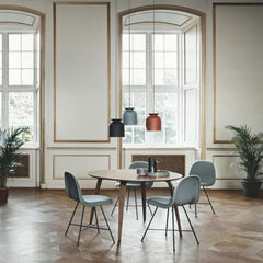 Gubi Ronde Pendant Lights in Room with 2D chairs by Komplot Design