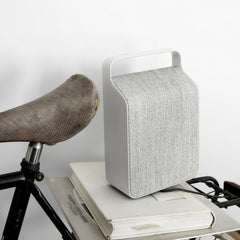 Vifa Oslo Soundspeaker in Pebble Grey Styled with Bicycle