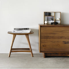 Walnut Osso Stool with Wave Sideboard by Ethnicraft