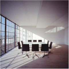 Black Oxford Chairs in Conference Room Artistic Lighting Fritz Hansen