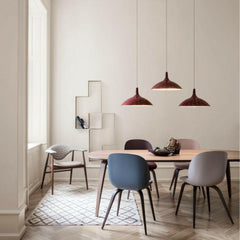 Paavo Tynell 1965 Pendant with Masculo Dining Chair, Beetle Dining Chairs, Eliptical Dining Table, and Dédal Shelf by GUBI