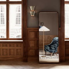 Paavel Tynell's 9602 Floor Lamp and 9464 Wall Lamp with Adnet Wall Mirror and Adam Lounge Chair by GUBI