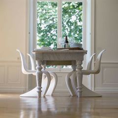 White Panton Chairs With Marble Dining Table in Classic Dining Room Vitra